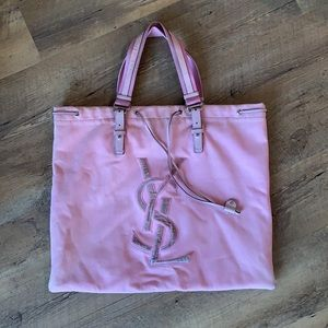 YSL canvas pink tote bag